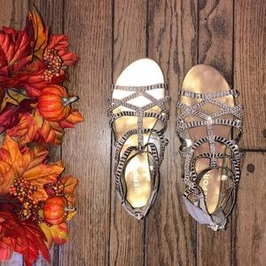 Cream and Gold Sparkly Gladiator Sandals Worn Once